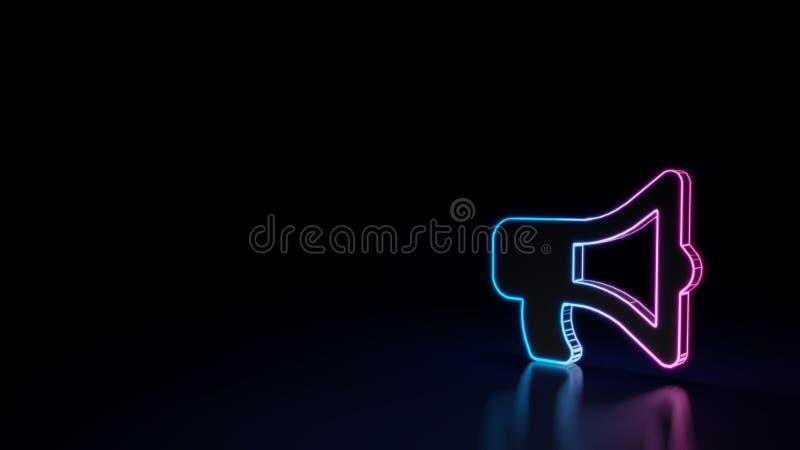 símbolo de neón que brilla intensamente 3d del símbolo del megáfono aislado en fondo negro ilustración del vector