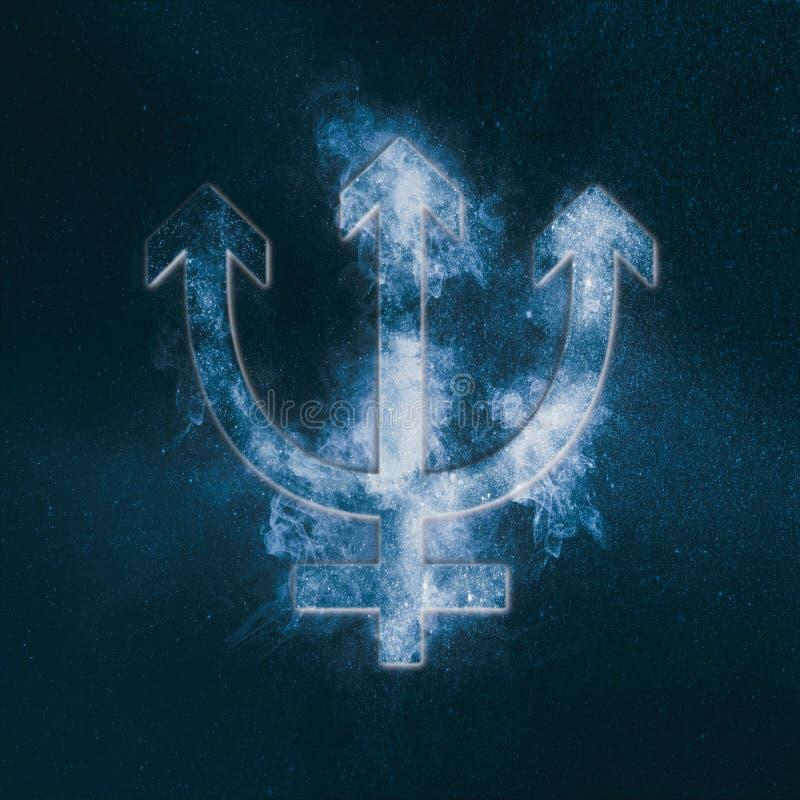Símbolo de Neptuno del planeta Muestra de Neptuno Backgrou abstracto del cielo nocturno libre illustration
