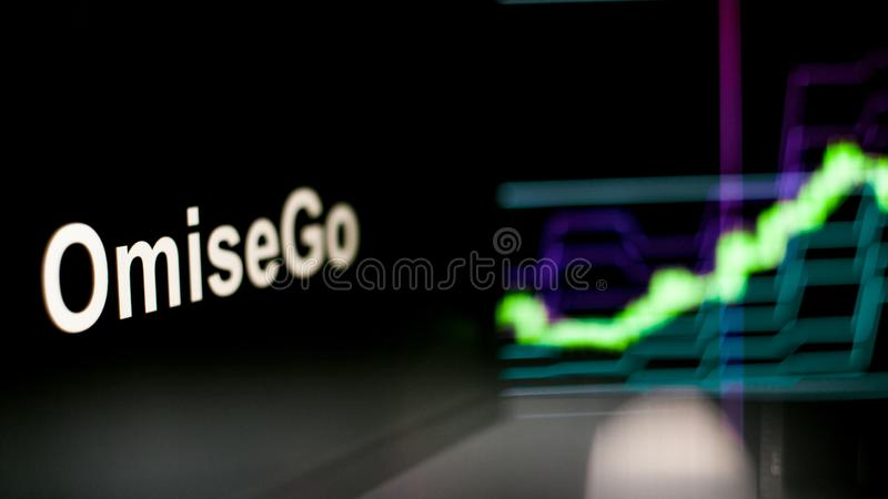 Símbolo de OmiseGo Cryptocurrency O comportamento das trocas do cryptocurrency, conceito Tecnologias financeiras modernas ilustração do vetor