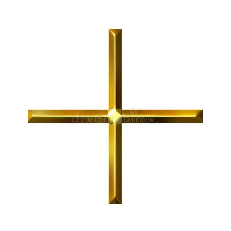 símbolo de oro de la adición 3D stock de ilustración