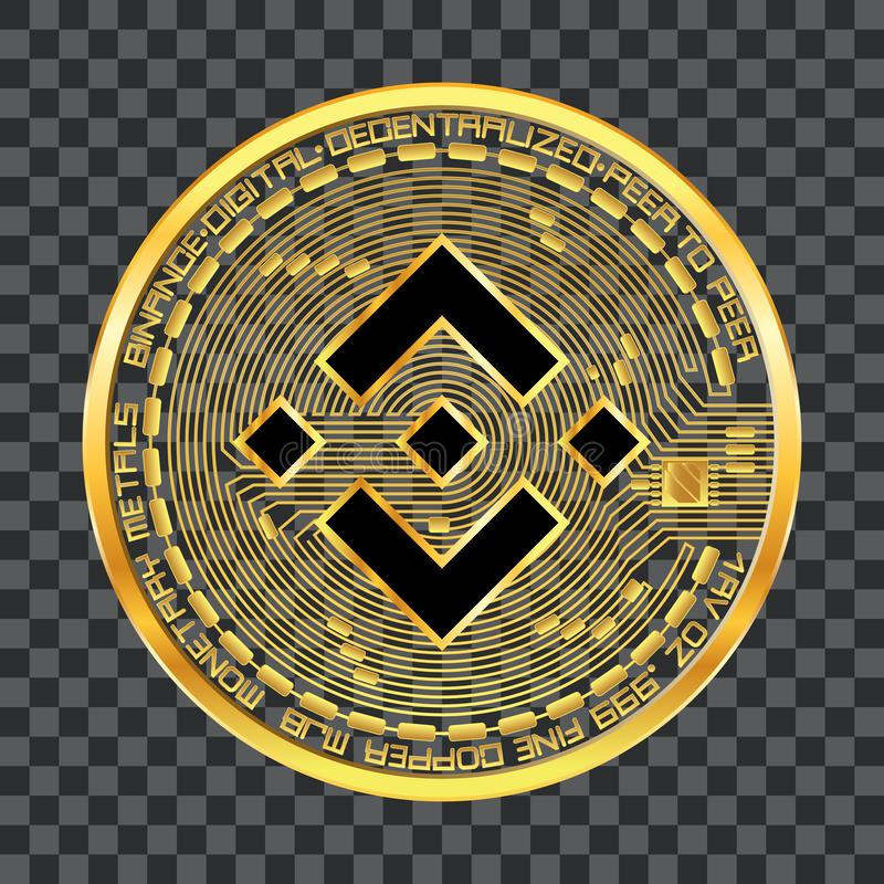 Símbolo de oro del binance Crypto de la moneda aislado en fondo transparente stock de ilustración