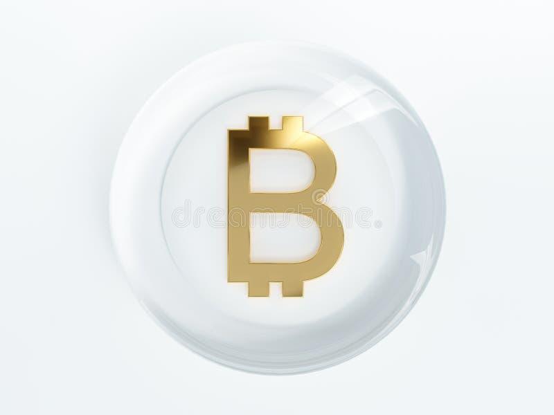 Símbolo de oro del cryptocurrency de Bitcoin cubierto con el vidrio libre illustration