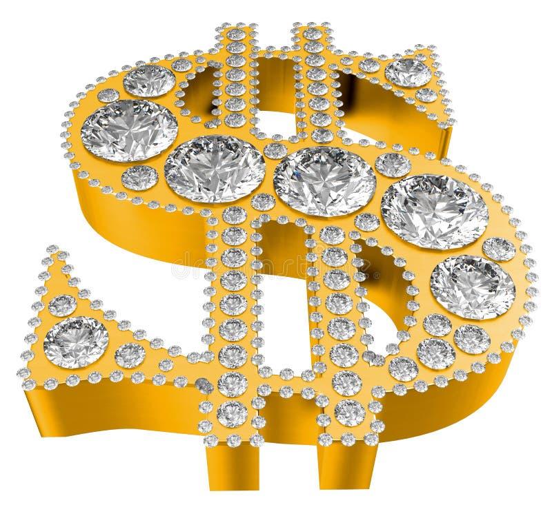Símbolo de oro del dólar 3D incrusted con los diamantes ilustración del vector