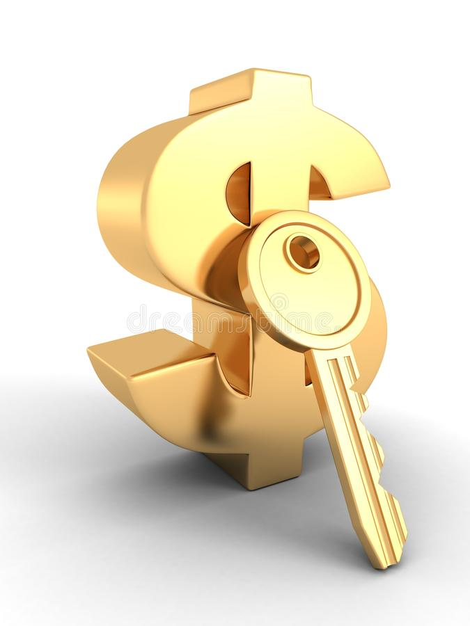 Símbolo de oro del dólar con llave del concepto del éxito stock de ilustración