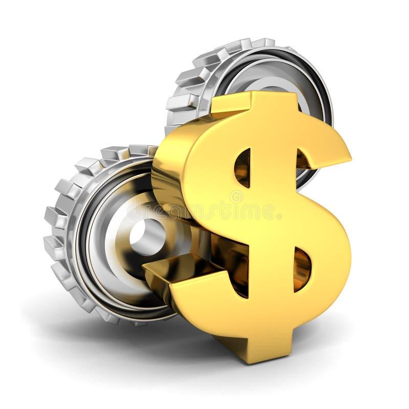 Símbolo de oro del dólar y engranajes de la rueda dentada en el fondo blanco stock de ilustración