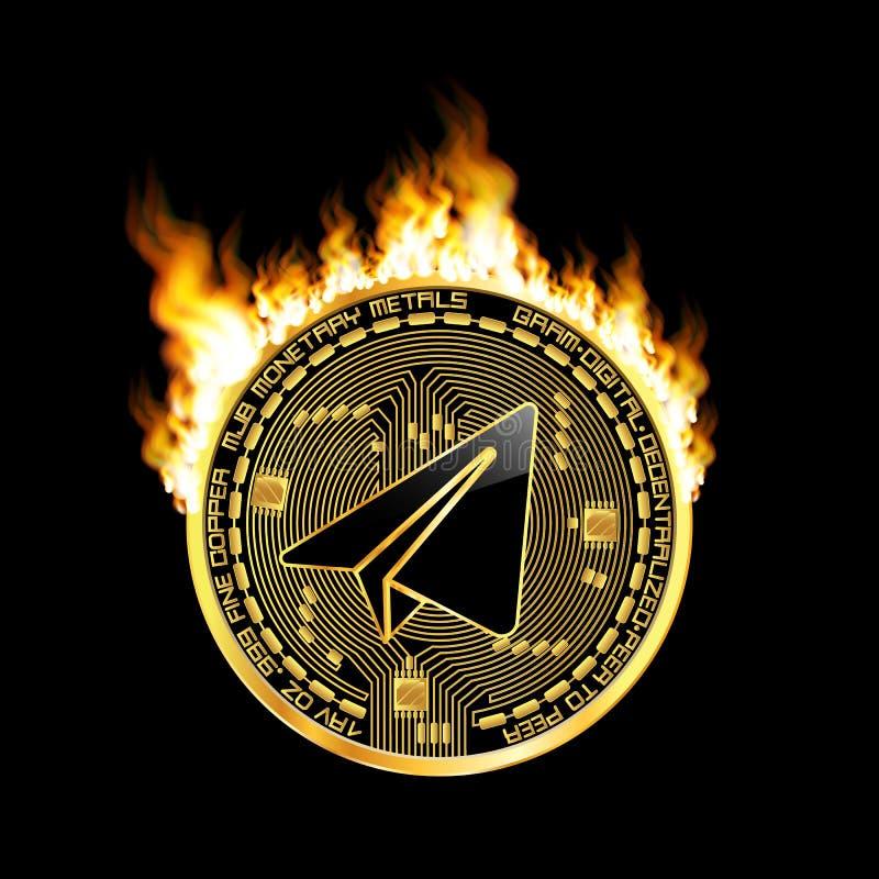 Símbolo de oro del gramo Crypto de la moneda en el fuego stock de ilustración