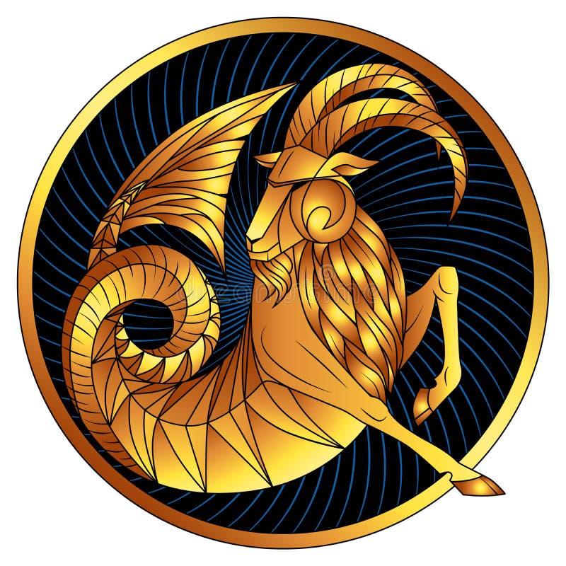 Símbolo de oro del horóscopo de la cerda joven de la muestra del zodiaco del Capricornio ilustración del vector