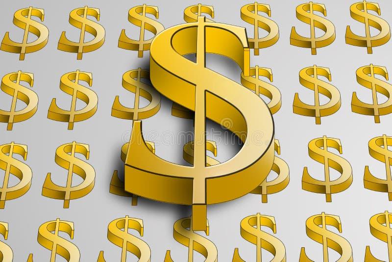 Símbolo de oro grande del dólar 3d en dólares más pequeños stock de ilustración