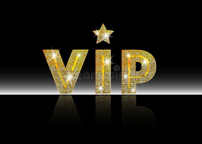 Símbolo de oro de la exclusividad, la etiqueta VIP con brillo Persona muy importante - icono del VIP en la muestra blanca del fon stock de ilustración