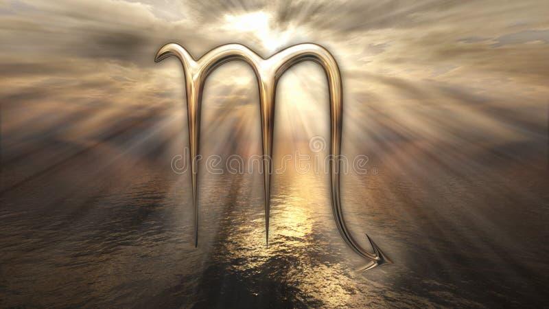 Símbolo de oro místico del escorpión del horóscopo del zodiaco representación 3d ilustración del vector