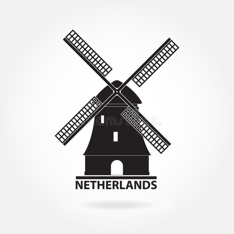 Símbolo de Países Bajos y de Amsterdam Icono o muestra del molino de viento aislada en el fondo blanco Silueta del molino Ilustra ilustración del vector