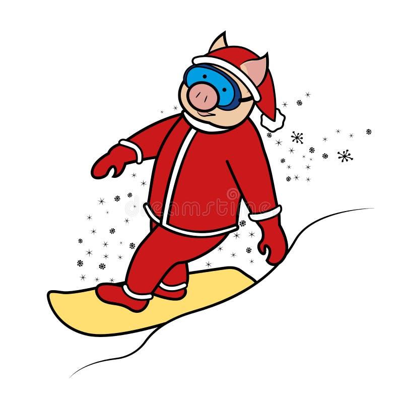Símbolo 2019 de Papai Noel do porco do Snowboarder ilustração stock