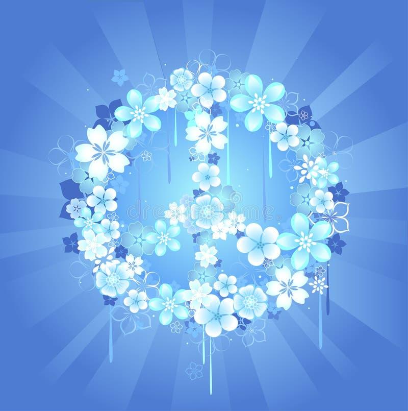 Símbolo de paz com flores em um fundo azul ilustração royalty free