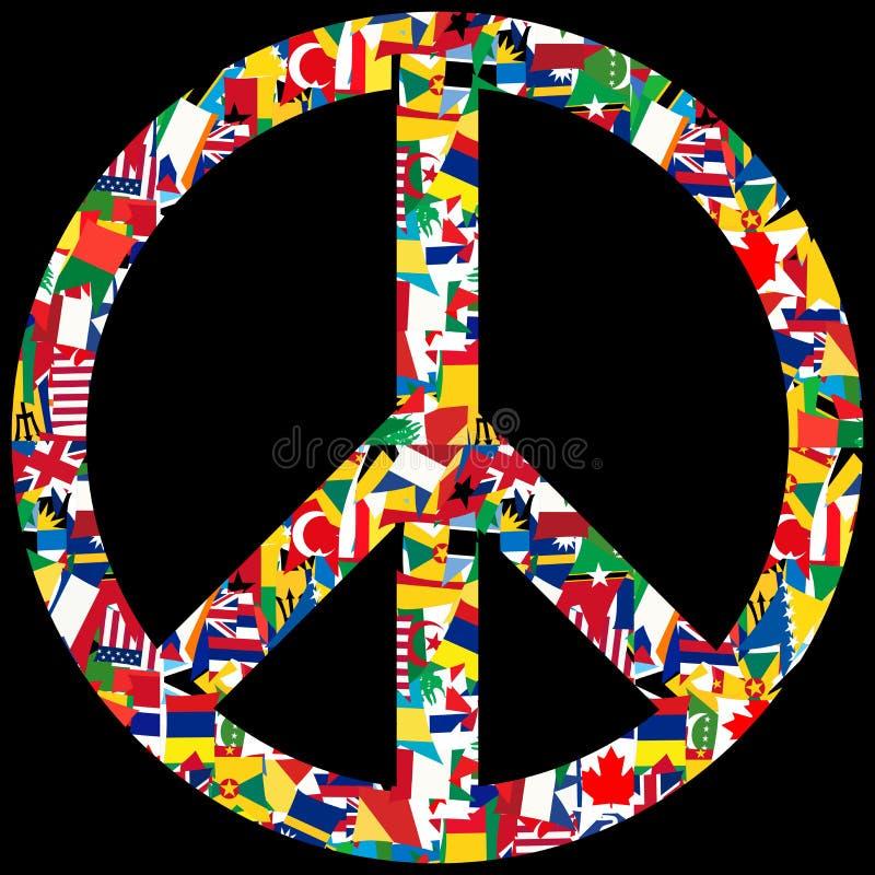 Símbolo de paz con las banderas del mundo ilustración del vector