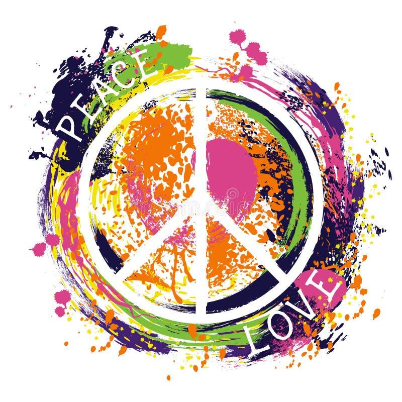 Símbolo de paz da hippie paz e amor Mão colorida arte tirada do estilo do grunge ilustração do vetor