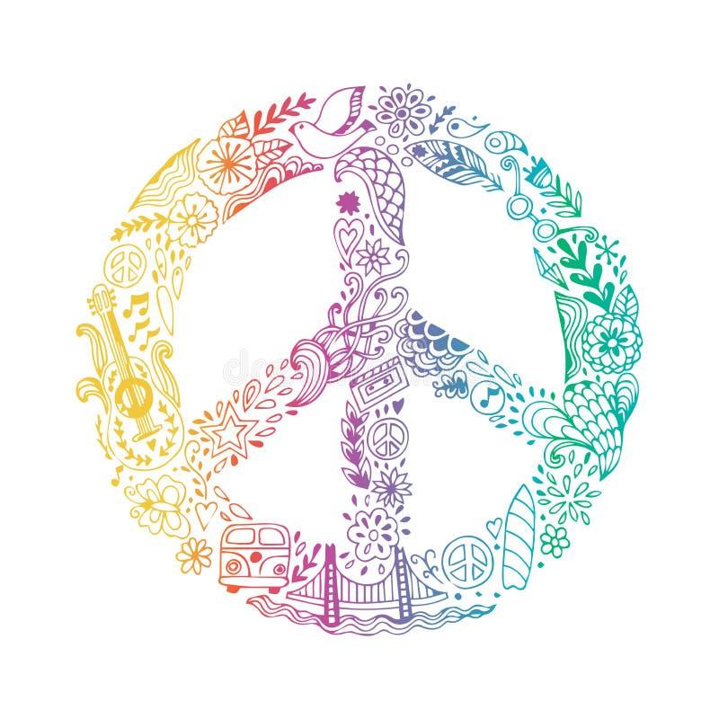 Símbolo de paz feito de ícones handdrawn da garatuja do tema da hippie, sinal do vetor do pacifismo Fundo do ornamental do estilo ilustração royalty free