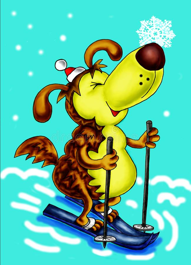 Símbolo de 2018 Perro amarillo ¡Feliz Año Nuevo! ilustración del vector