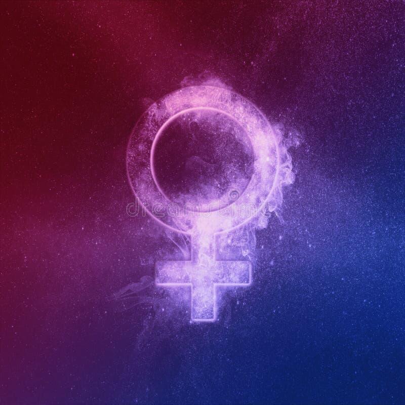 Símbolo de planeta Venus rojo azul. Venus Sign. Fondo abstracto del cielo nocturno ilustración del vector
