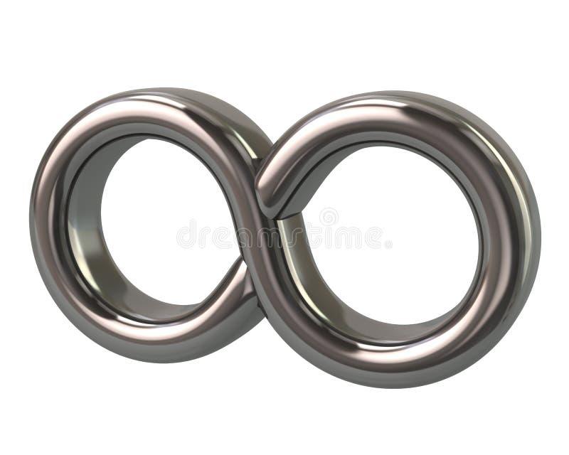 Símbolo de plata del ejemplo del infinito 3d stock de ilustración