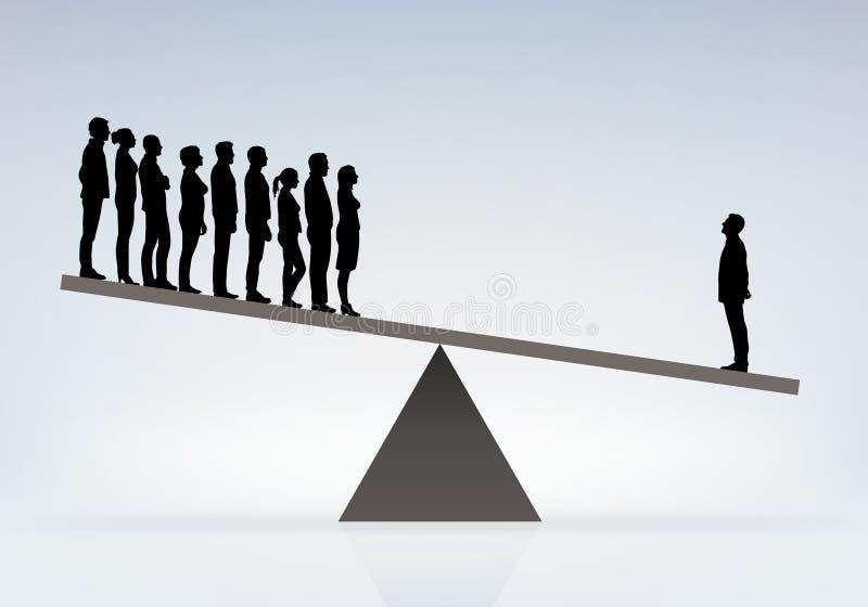 Símbolo de poder desequilibrado entre um chefe e seus empregados ilustração royalty free