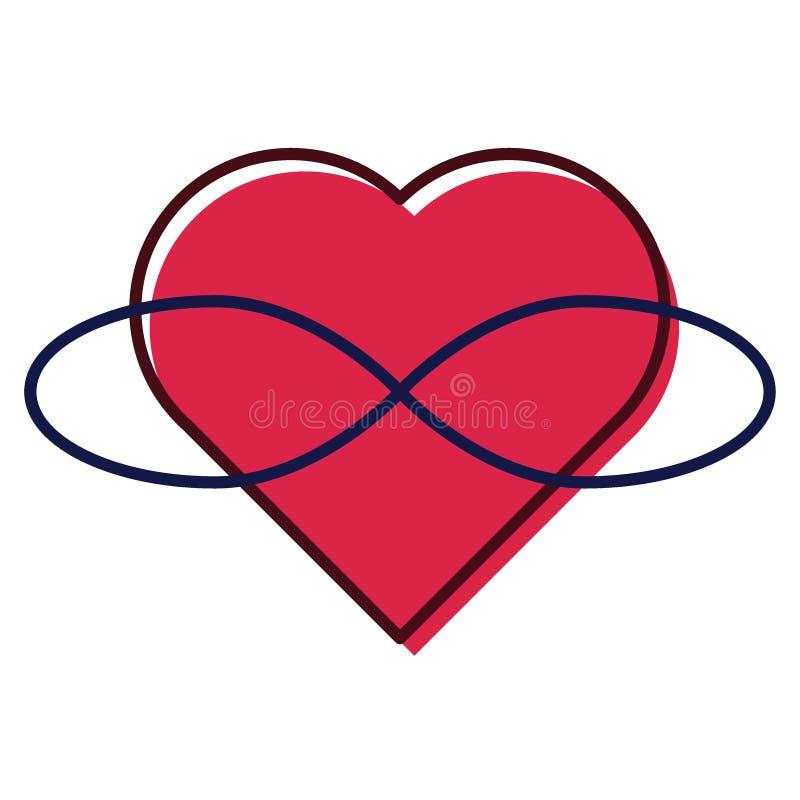 Símbolo de Polyamory Coração e infinidade Amor infinito Fundo branco e coração vermelho com infinidade ilustração royalty free