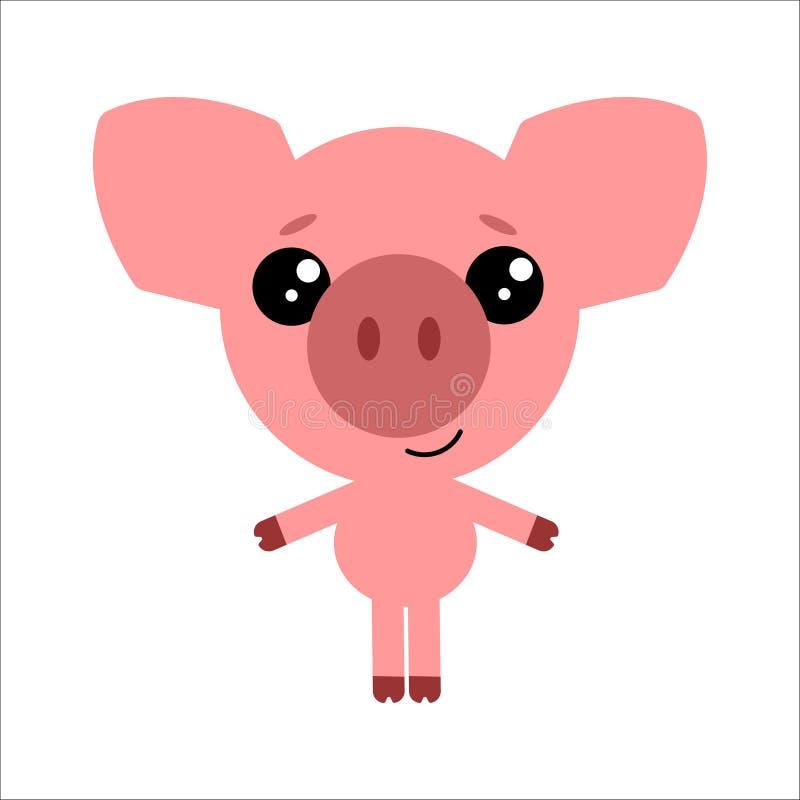 Símbolo de 2019 Porco bonito do vetor Sorriso leitão Fundo branco Projeto liso Vetor ilustração do vetor