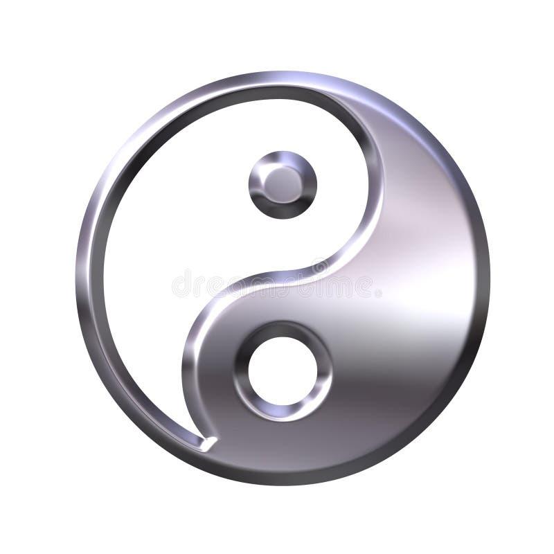símbolo de prata de 3D Tao ilustração royalty free