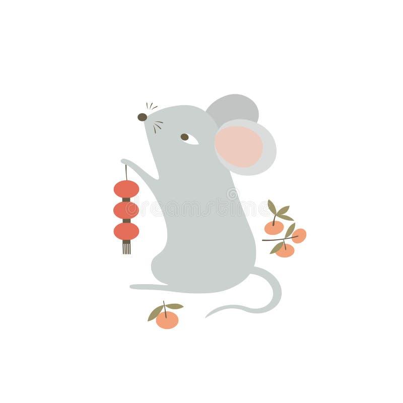 Símbolo de ratón de 2020 con farolillos rojos y mandarinas tradicionales Caricatura divertida Símbolo de zodiaco animal chino Rat libre illustration