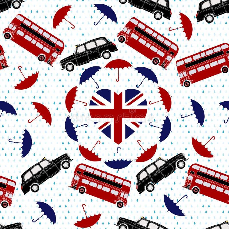 Símbolo de Reino Unido do amor Bandeira do coração, ônibus de dois andares, Londres Ta ilustração do vetor