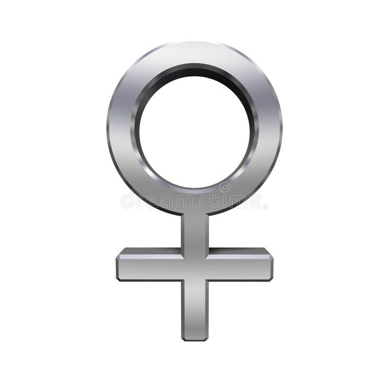 Símbolo de sexo fêmea do cromo ilustração royalty free