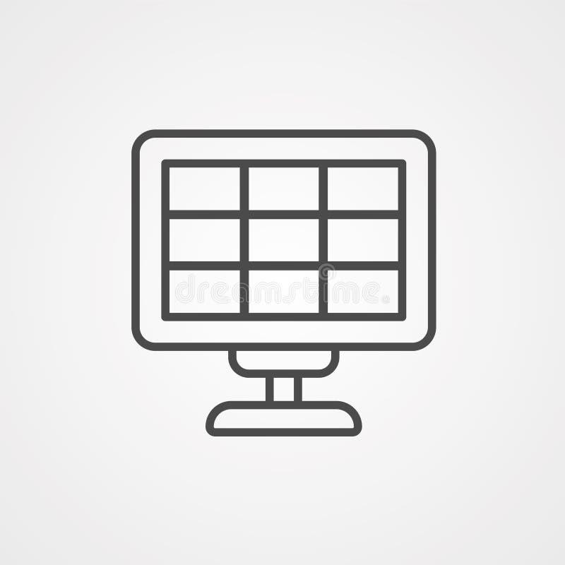 Símbolo de sinal de ícone do vetor do painel solar ilustração do vetor