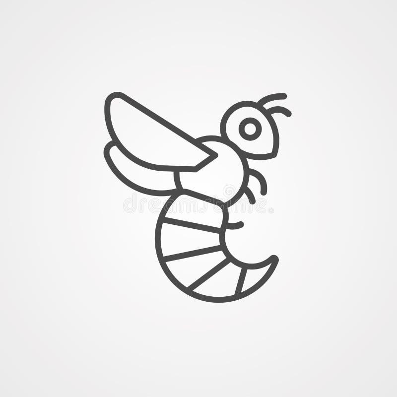 Símbolo de sinal de ícone de vetor Wasp ilustração stock