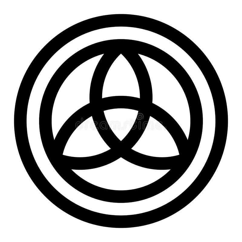 Símbolo de Triquetra en un círculo stock de ilustración