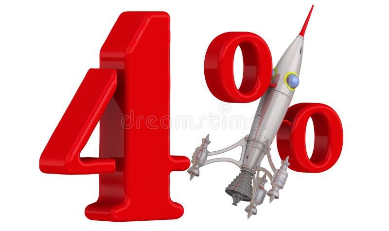 Símbolo de um crescimento rápido da porcentagem quatro ilustração royalty free