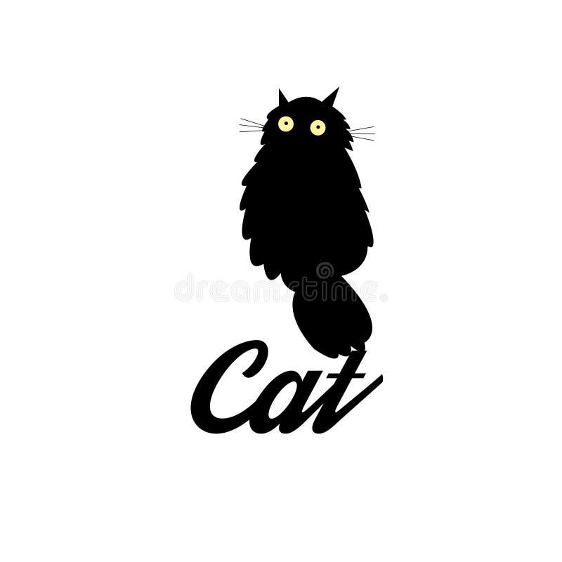 Símbolo de um gato preto ilustração stock