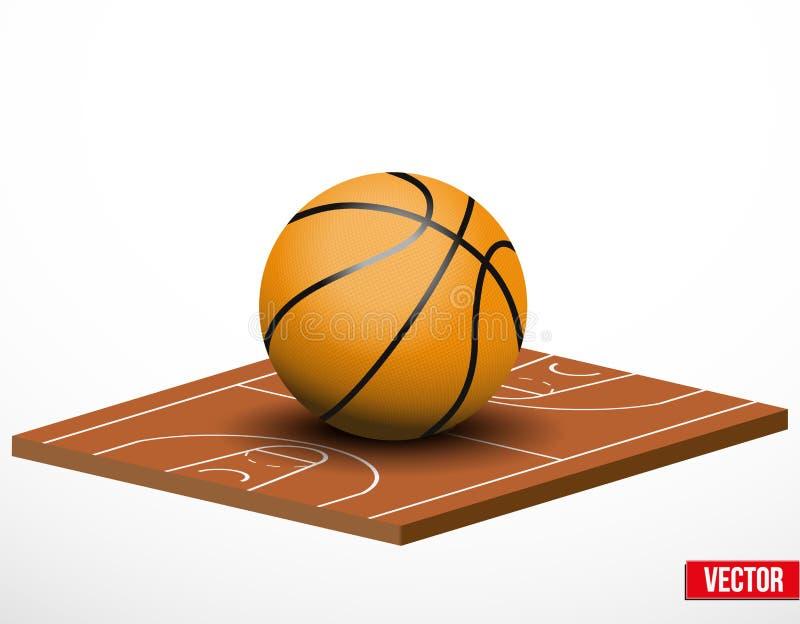 Símbolo de um jogo e de um campo de basquetebol. ilustração stock