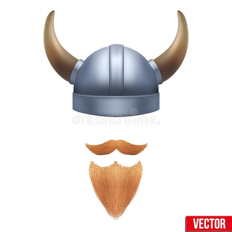 Símbolo de Viking con el casco y la barba de cuernos libre illustration