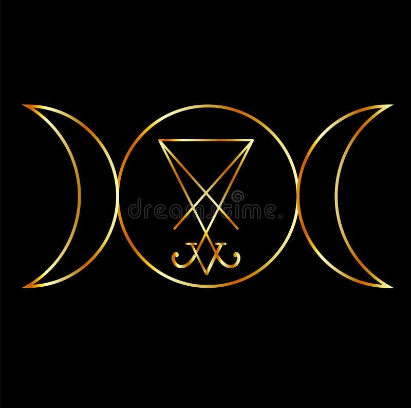 Símbolo de Wiccan con el sigil de Lucifer ilustración del vector