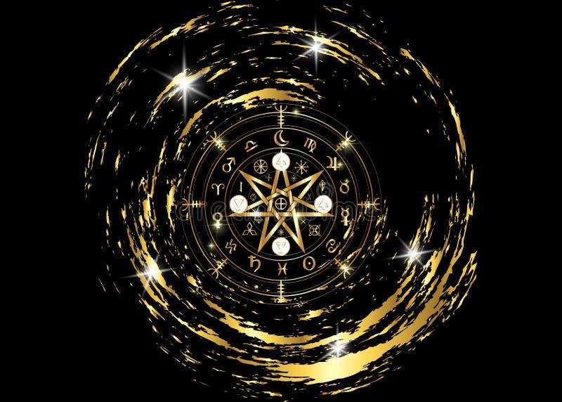 Símbolo de Wiccan da proteção Runas de Mandala Witches do ouro, adivinhação místico de Wicca Símbolos ocultos antigos, roda do zo ilustração royalty free