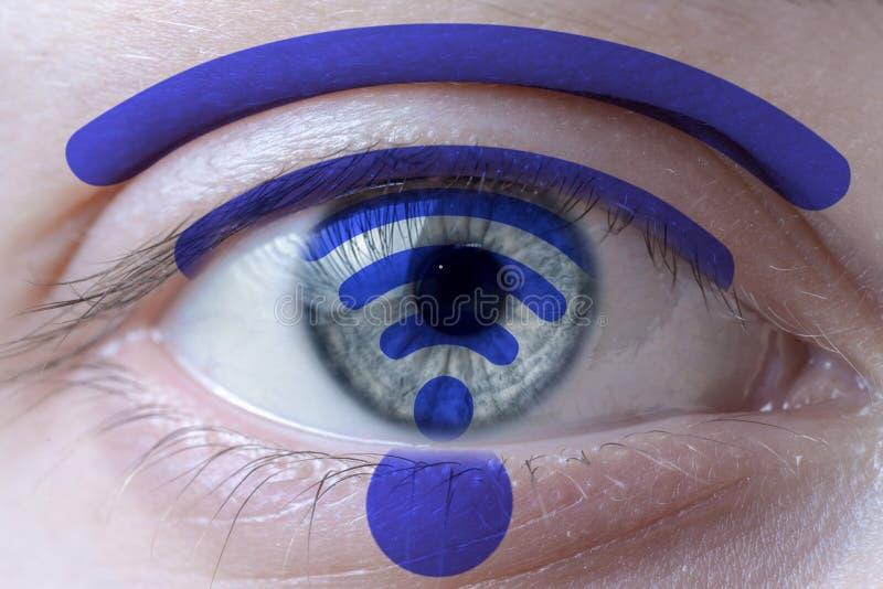 Símbolo de Wifi na cara e na íris imagem de stock royalty free