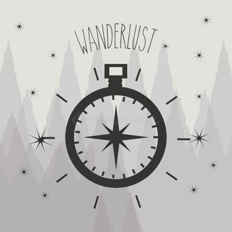Símbolo de Wonderlust com o ubication do compasso a explorar ilustração do vetor
