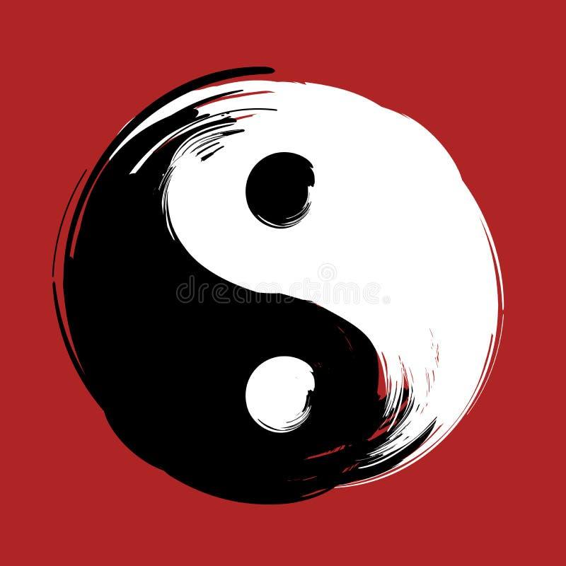 Símbolo de yang del yin del espiral del remolino del cepillo stock de ilustración