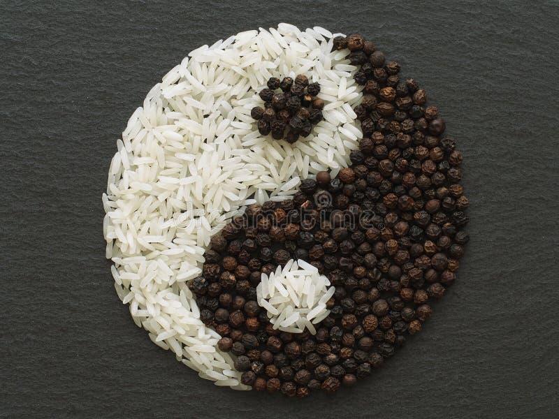 Símbolo de Yin e de Yang, feito do arroz e dos condimentos foto de stock royalty free
