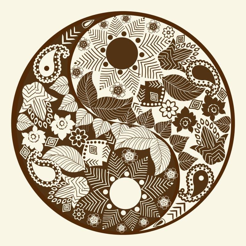 Símbolo de Yin yang, elemento asiático de la decoración ilustración del vector