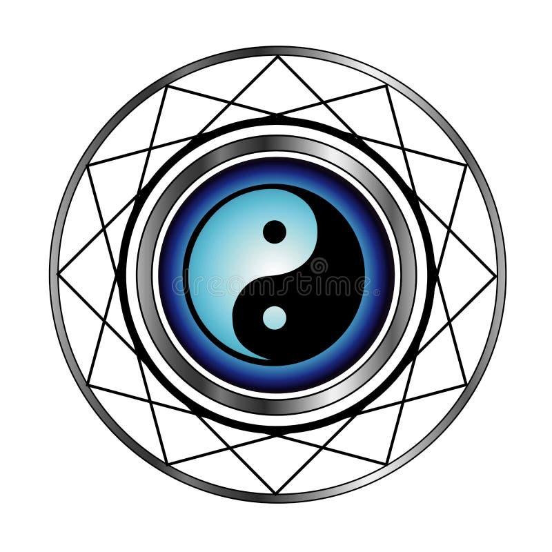 Símbolo de Ying Yang com fulgor azul ilustração stock