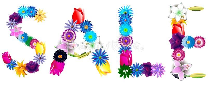 Símbolo decorativo hermoso de la venta de flores multicoloras ilustración del vector