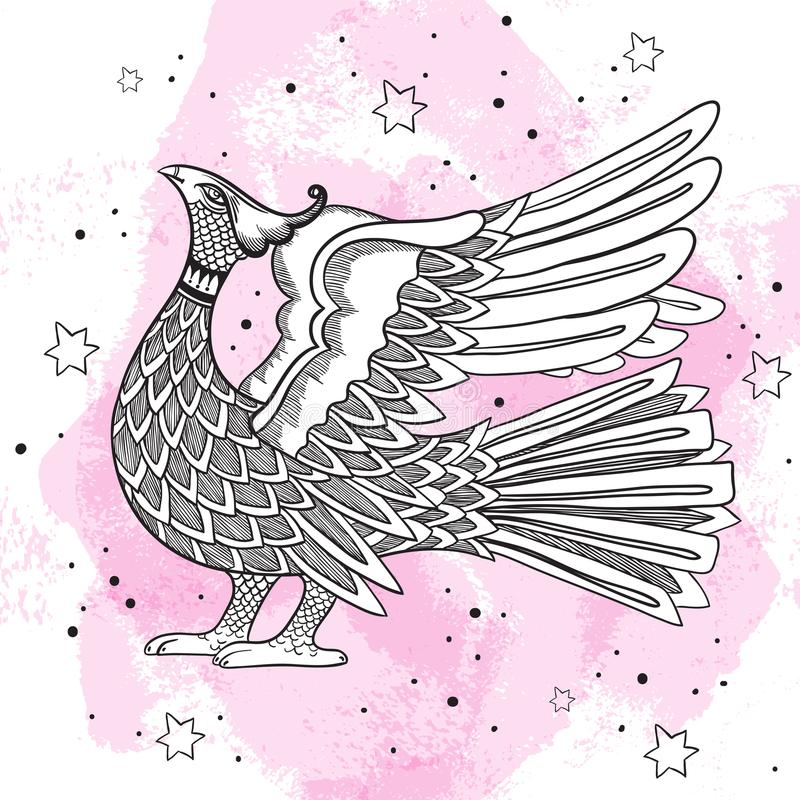 Símbolo decorativo tradicional ruso del pájaro Ilustration grabado hermoso del vintage aislado Diseño ruso del estilo ilustración del vector
