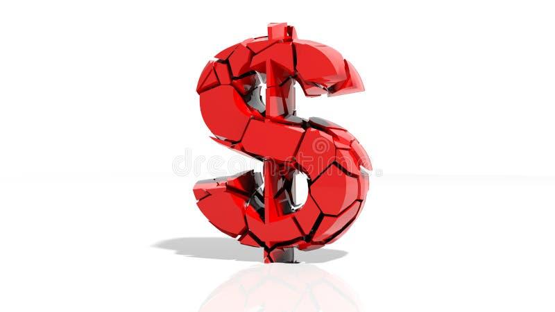 Símbolo deixado de funcionar do dólar ilustração royalty free
