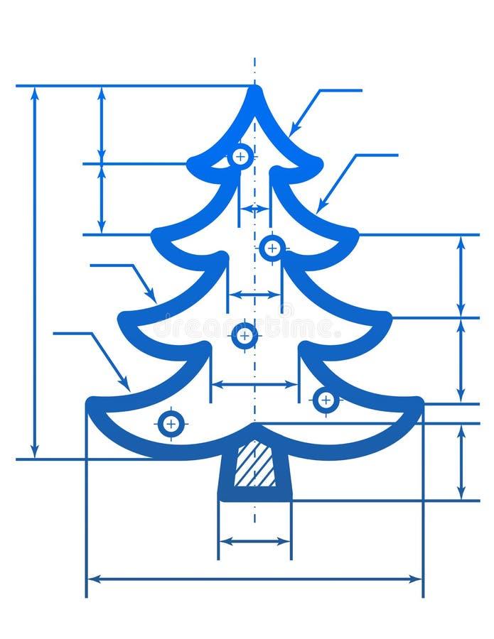Símbolo del árbol de navidad con las líneas de dimensión stock de ilustración