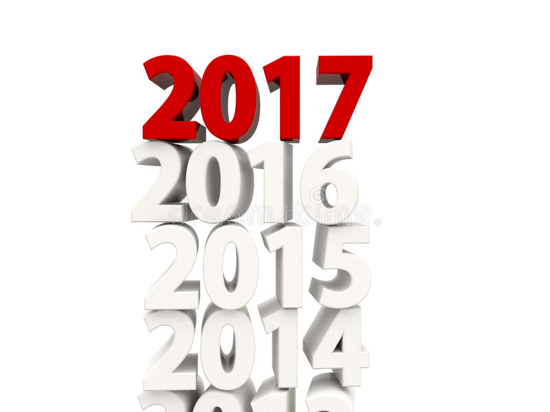 Símbolo del Año Nuevo 2017 encima de otros años libre illustration
